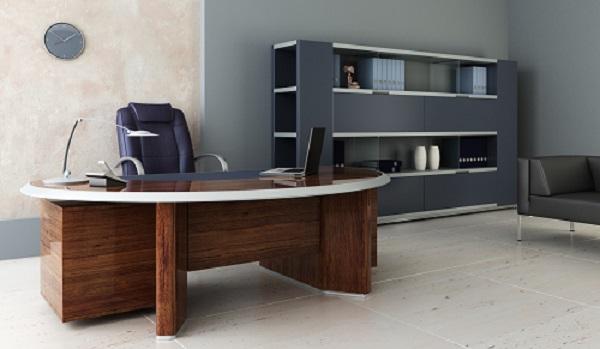 Schreibtisch aus Nussbaum und Regal aus MDF